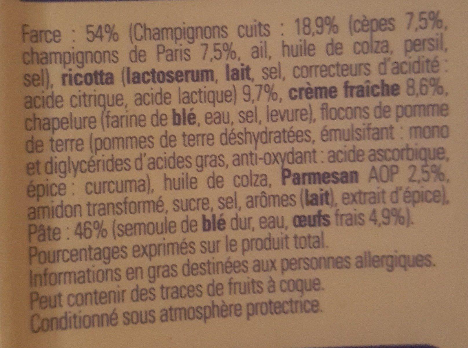 Demi-Lune, Cèpes-Parmesan - Ingrédients - fr