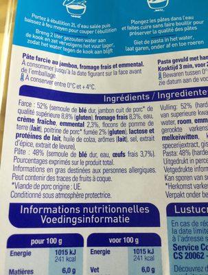 Ravioli Jambon Emmental - Ingrédients - fr