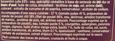 Serpentini Poulet Provençal, LunchBox - Ingrédients