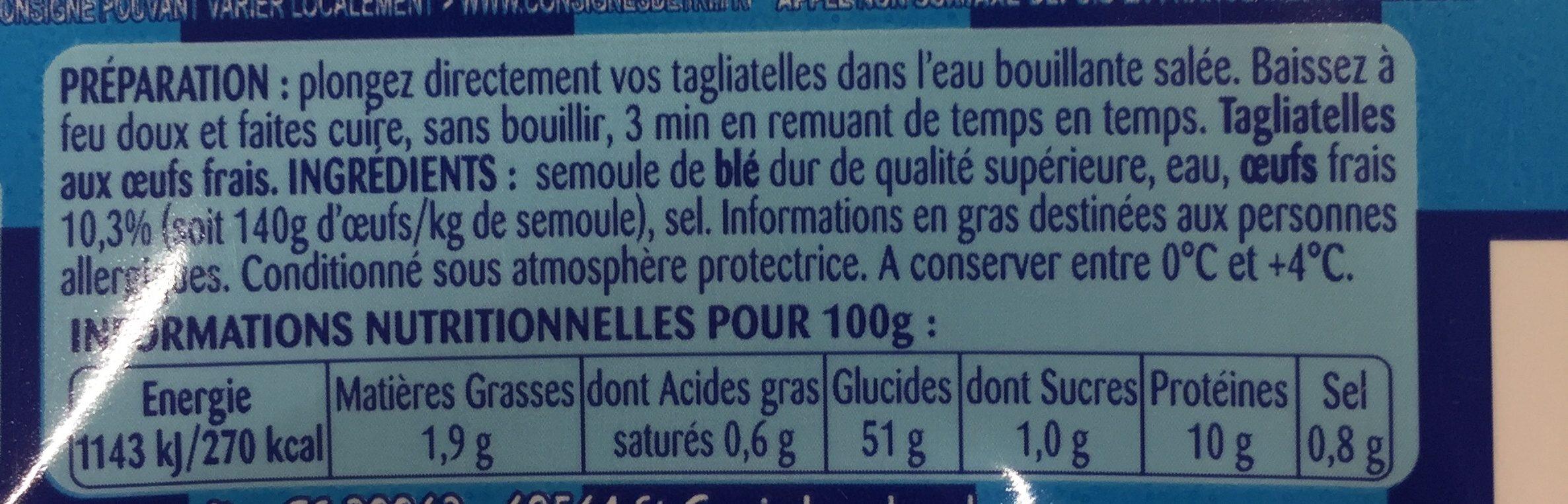Tagliatelles larges - Ingredients