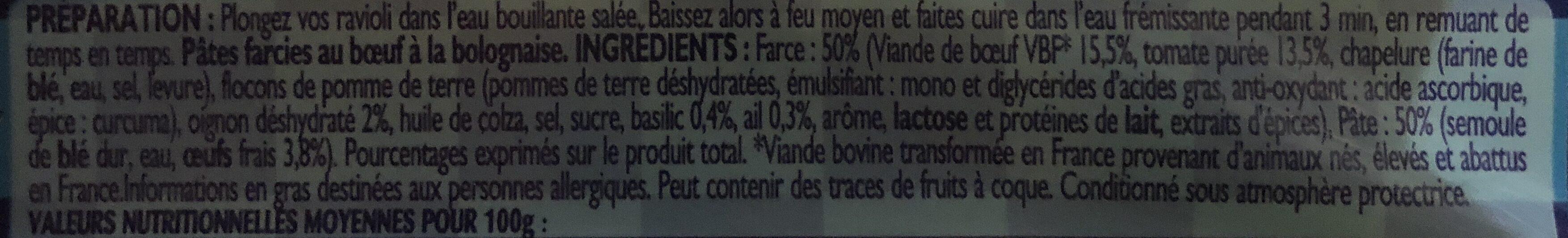Lustucru ravioli bœuf bolognaise 500g format maxi - Ingrédients - fr