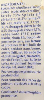 Lustucru ravioles a poeler chevre - Ingrédients - fr