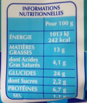 Lustucru ravioles a poeler chevre - Informations nutritionnelles - fr