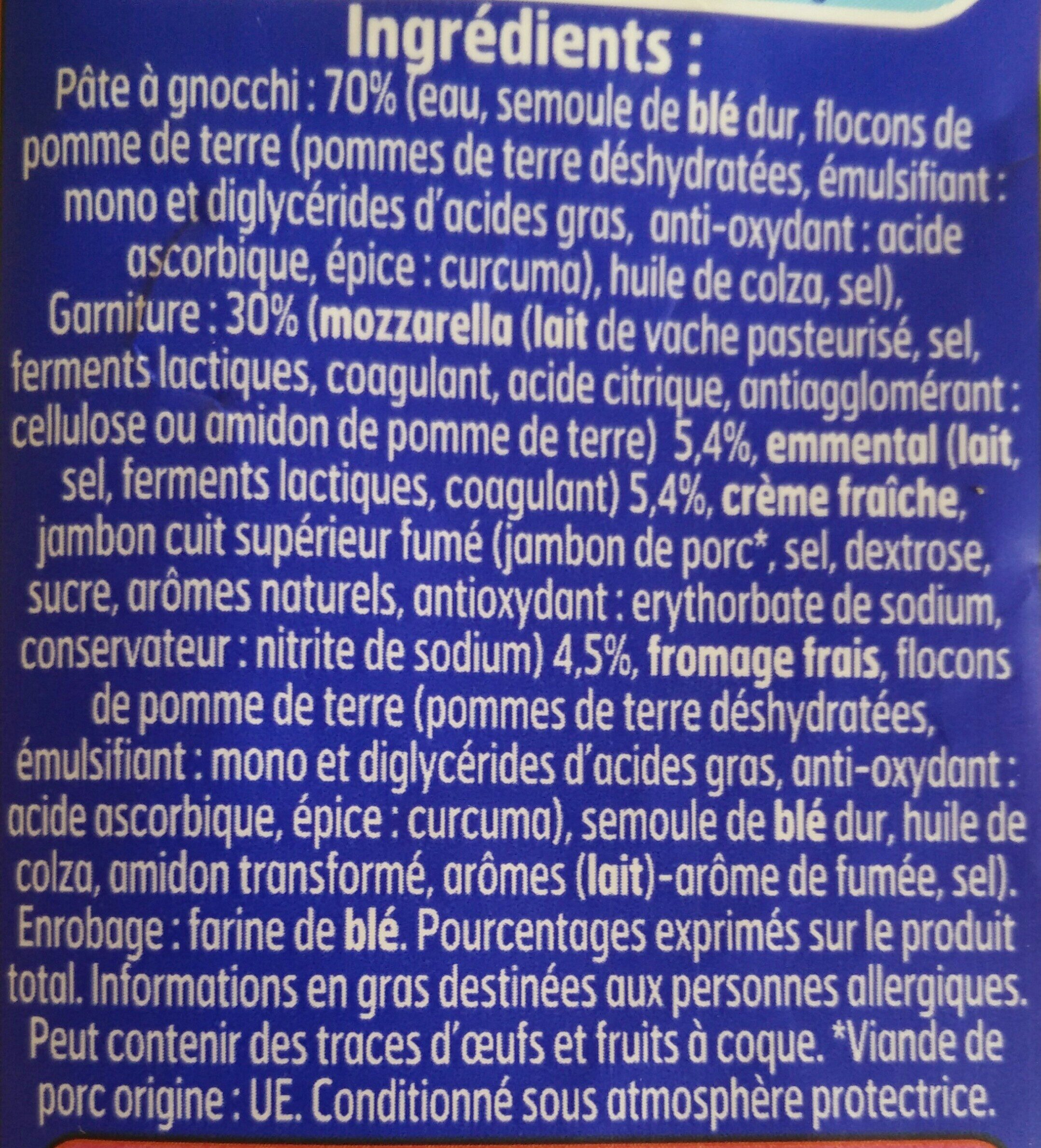 Gnocchi a poeler extra fromage jambon - Ingredients - fr