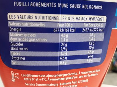 Lustucru box serpentini bolognaise - Informations nutritionnelles - fr