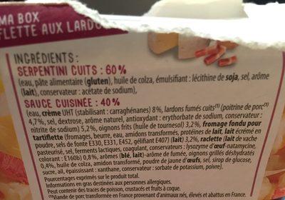 Serpentini sauce tartiflette aux lardons - Ingredients