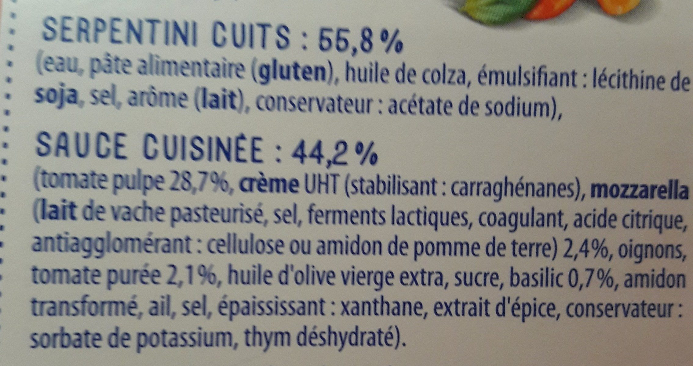 Box serpentini tomate mozza 360g lustucru selection - Ingrédients