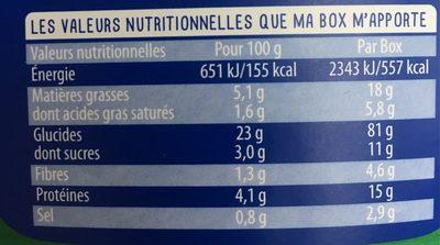 Box serpentini tomate mozza 360g lustucru selection - Informations nutritionnelles