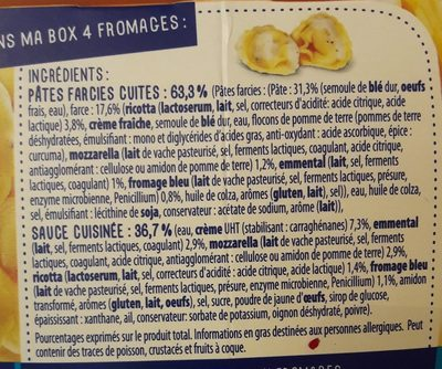 Tortellini 4 fromages - Ingrediënten