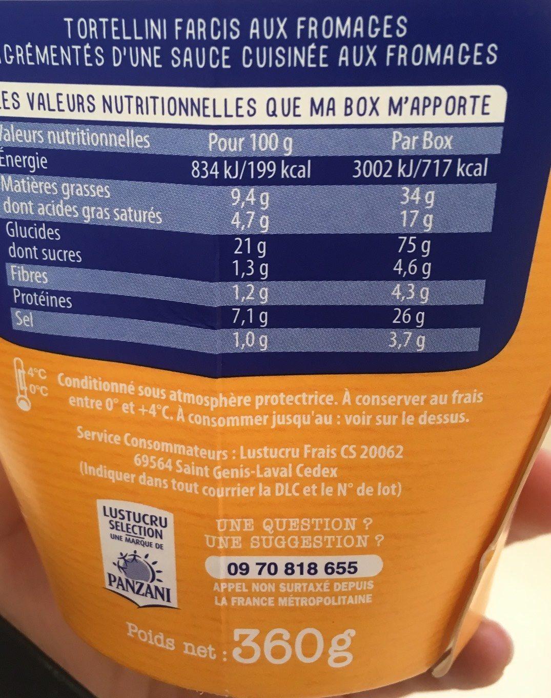 Tortellini 4 fromages - Voedigswaarden