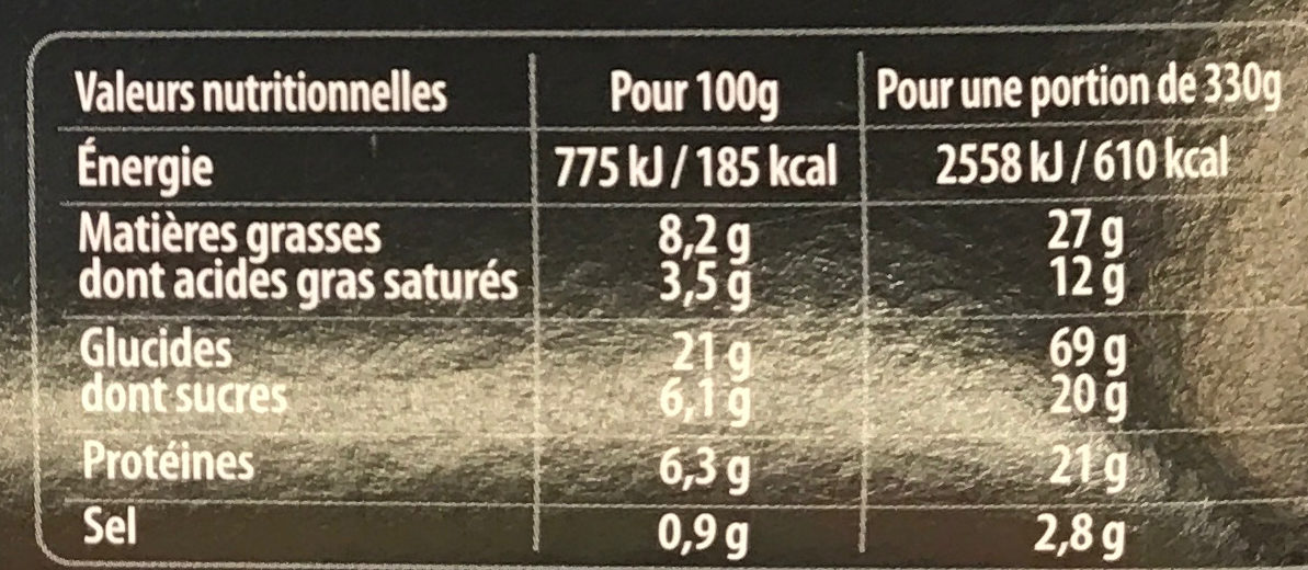 Menu Gourmand Spaghetti Bolognaise & Moelleux au Chocolat - Informations nutritionnelles