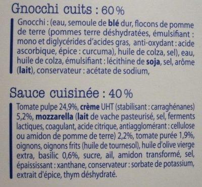 Gnocchi Tomate Mozza - Ingrédients - fr