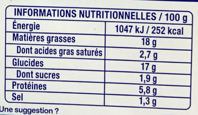 Lustucru petites quenelles nature 16x20g - Voedingswaarden - fr