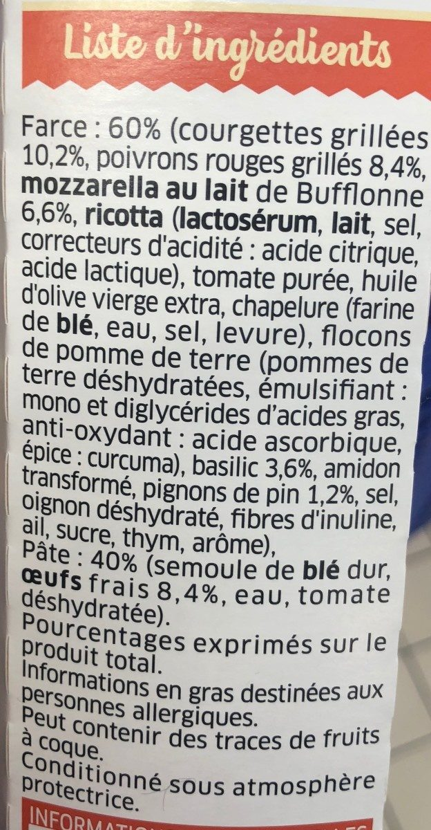 Girasoli - Ingrédients - fr