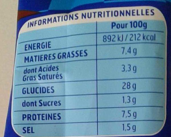 Gnocchi à poêle extra cheddar bacon - Informations nutritionnelles