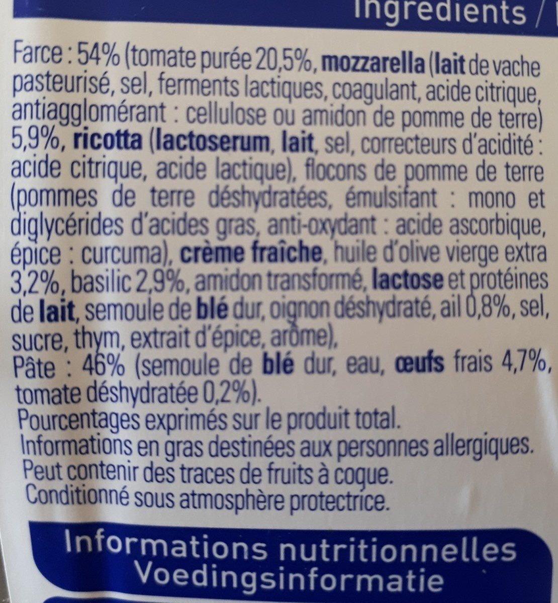 Demi-lune tomate basilic mozzarella - Ingrediënten - fr