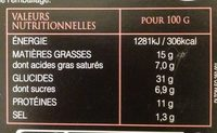 Demi lune tomate mozza di bufala basilic 250g - Nutrition facts - fr