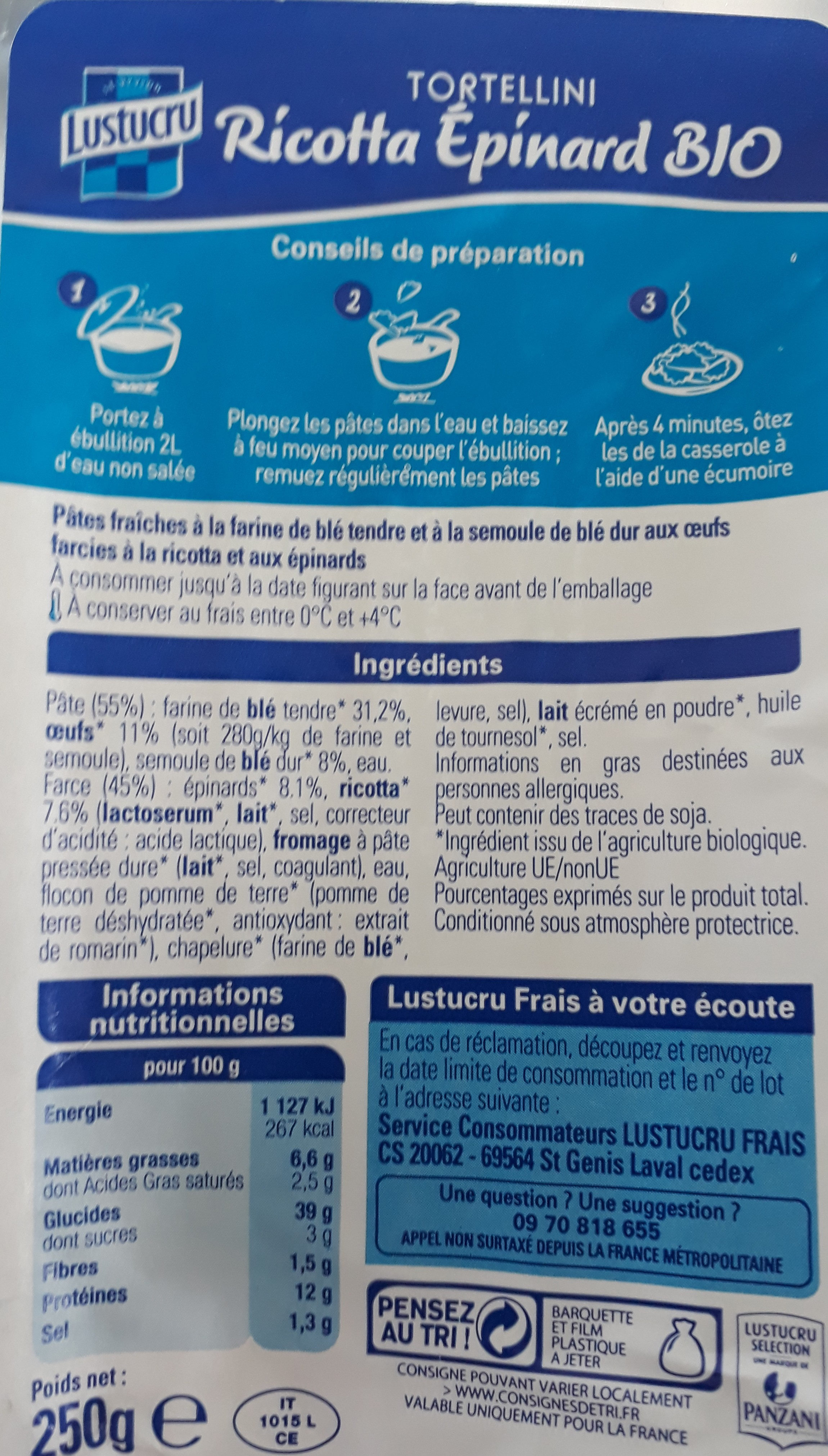 Tortellini Ricotta Épinards Bio - Nutrition facts