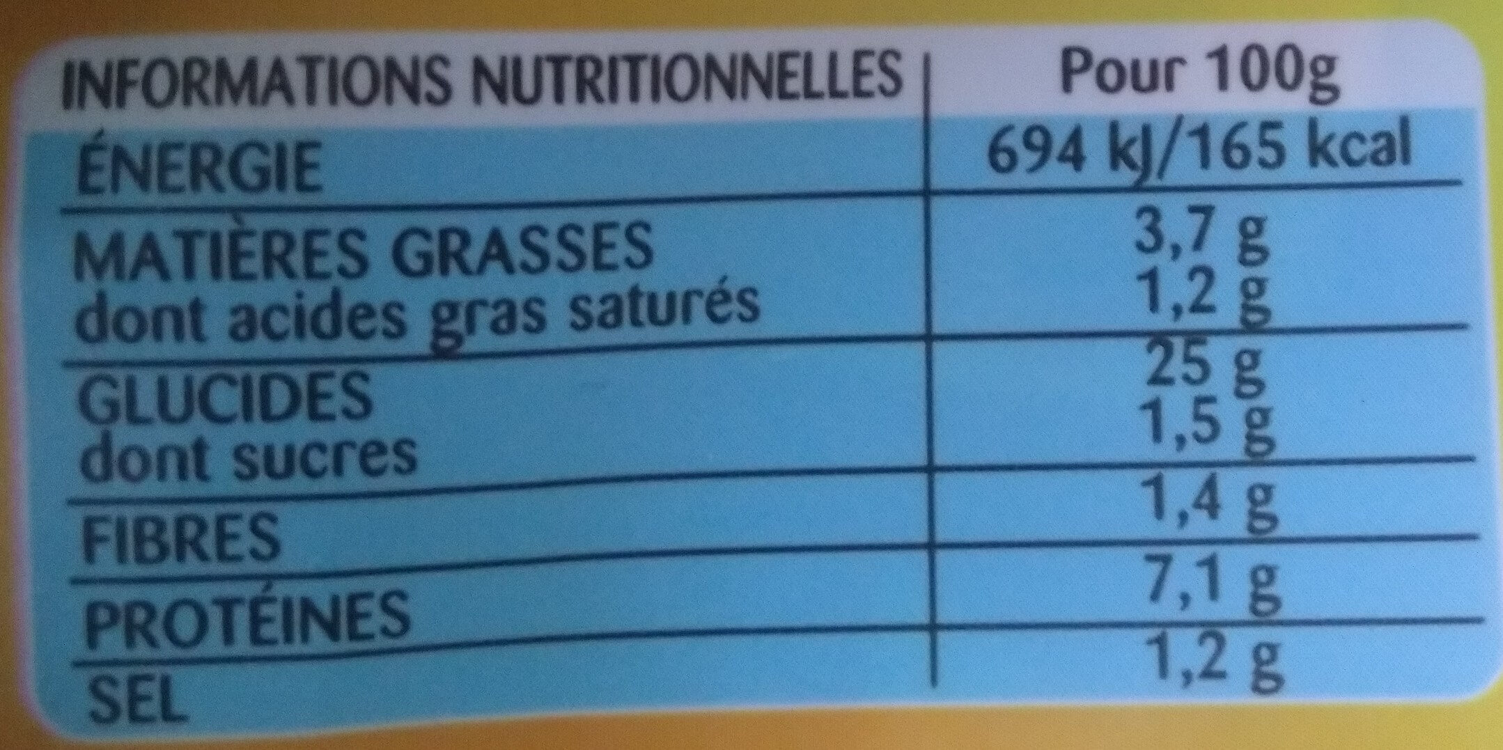 Lustucru selection tortellini a poeler maxi jambon emmental - Informations nutritionnelles - fr