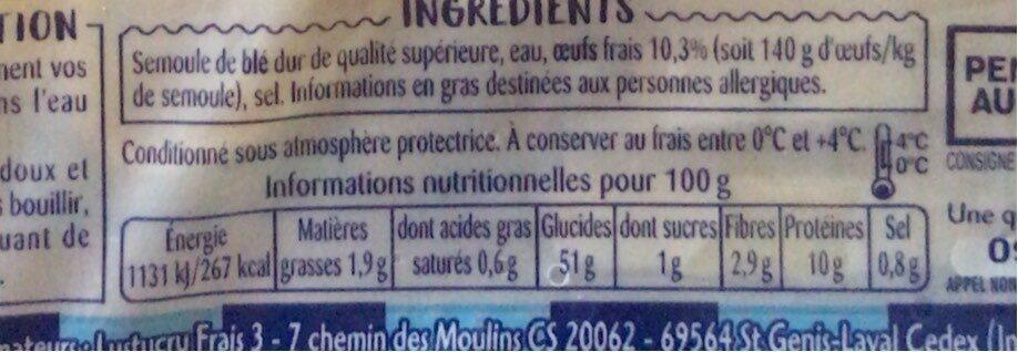 Tagliatelle Oeufs frais - Informations nutritionnelles - fr