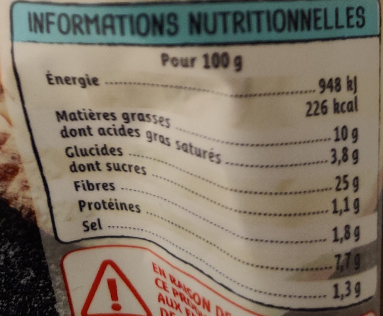 Gnocchi farcis gorgonzola et noix - Nutrition facts