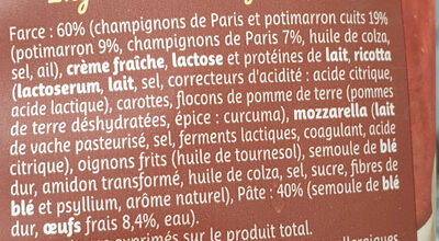 Girasoli Potimarron Champignons - Ingredients - fr