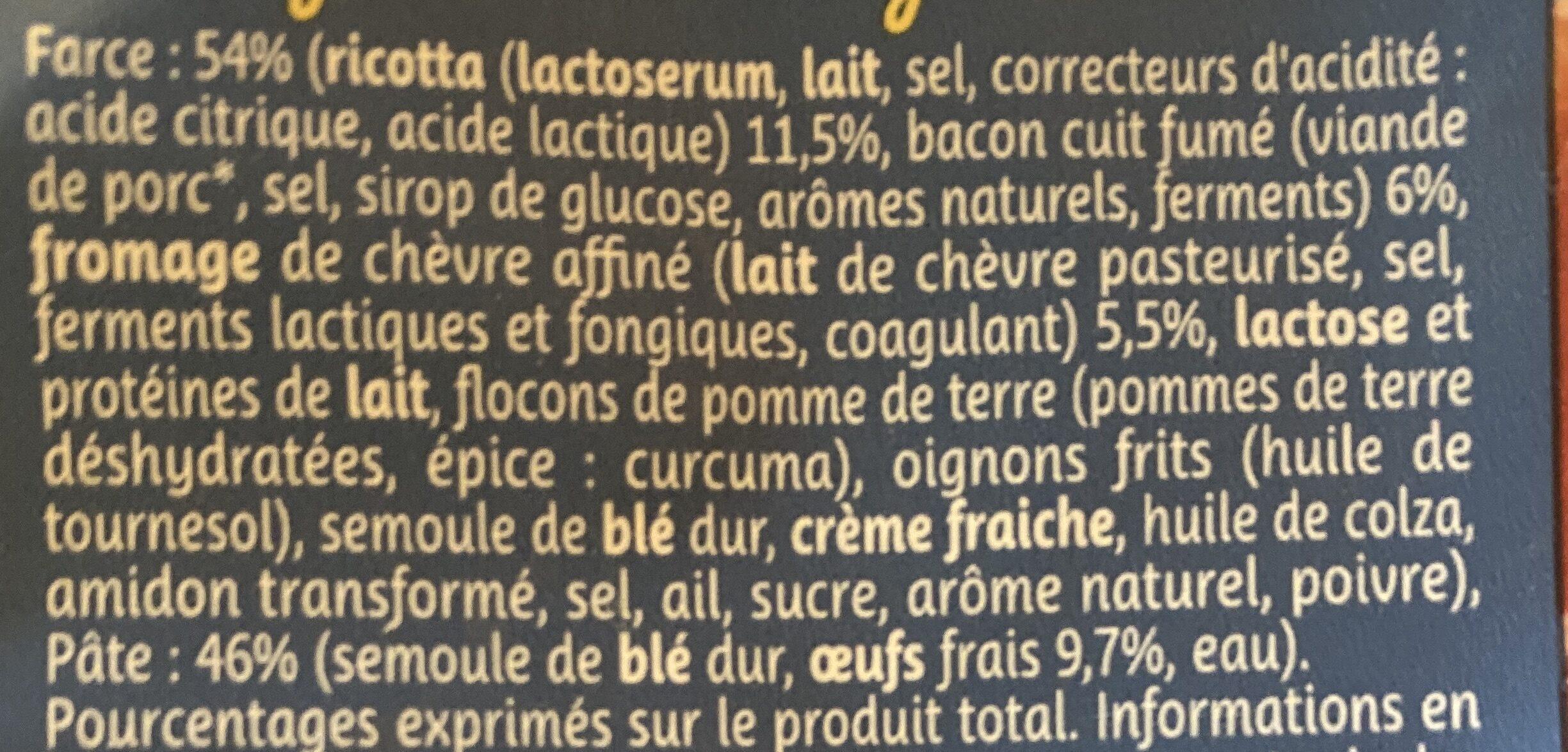 Tortellini bacon chevre 250g lustucru x8 - Ingrediënten - fr