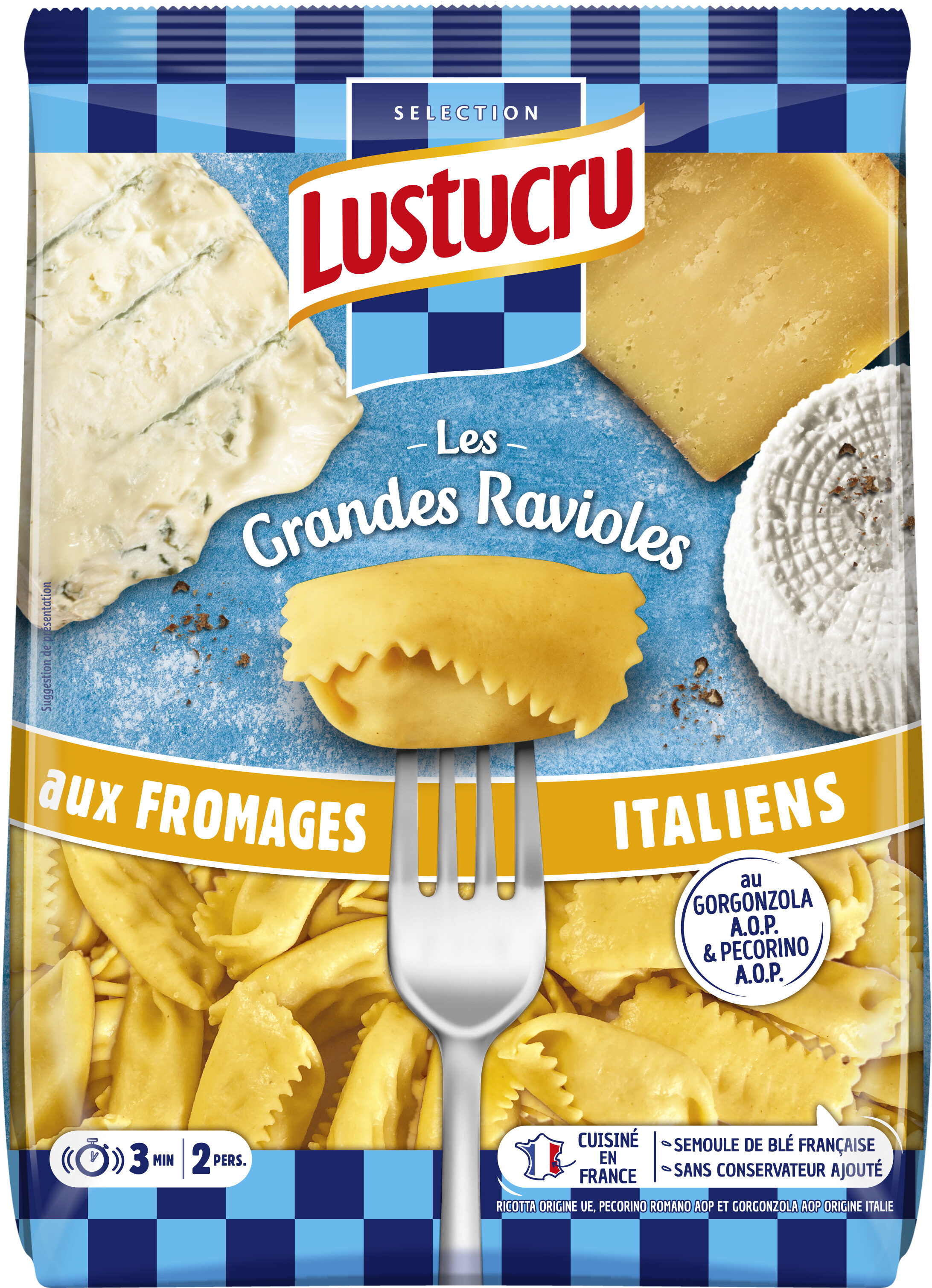 Lustucru grandes ravioles 3 fromages italiens - Prodotto - fr