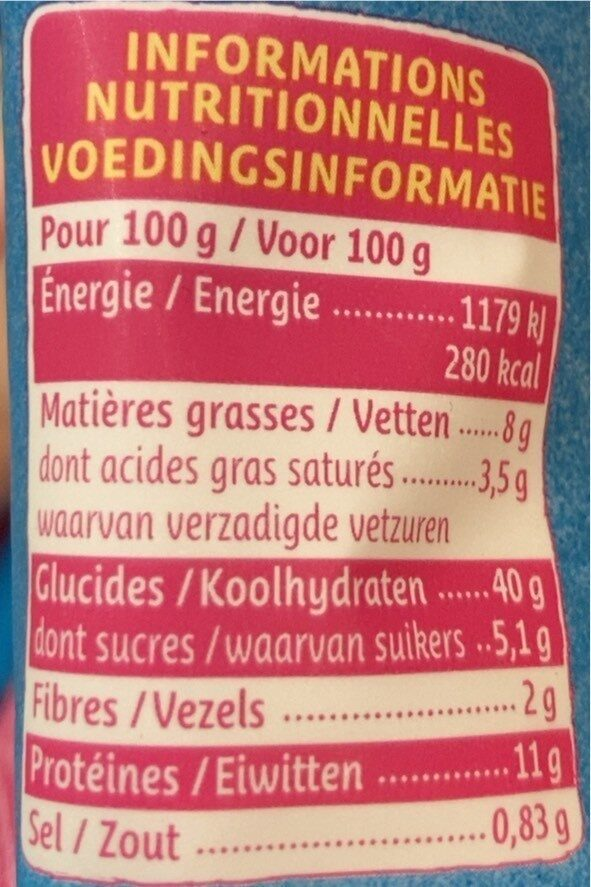 Tortellini jambon comte 250g - Informations nutritionnelles - fr