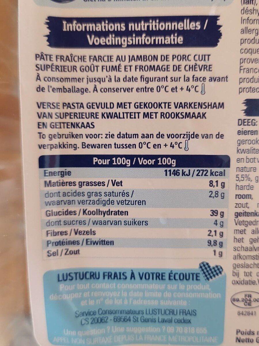 Lustucru tortellini chevre jambon fume - Informations nutritionnelles - fr