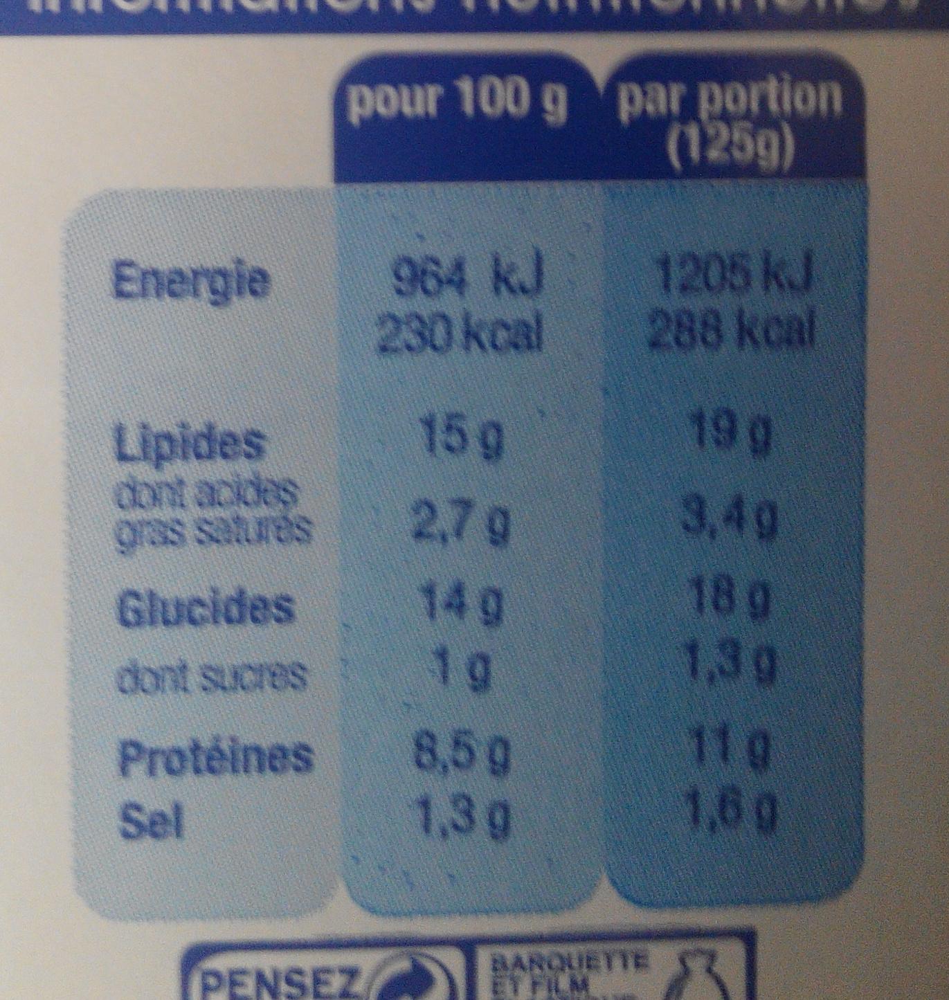 Quenelles Traiteur brochet - Informations nutritionnelles