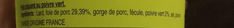 Pâté piquant au poivre vert - Ingrédients - fr