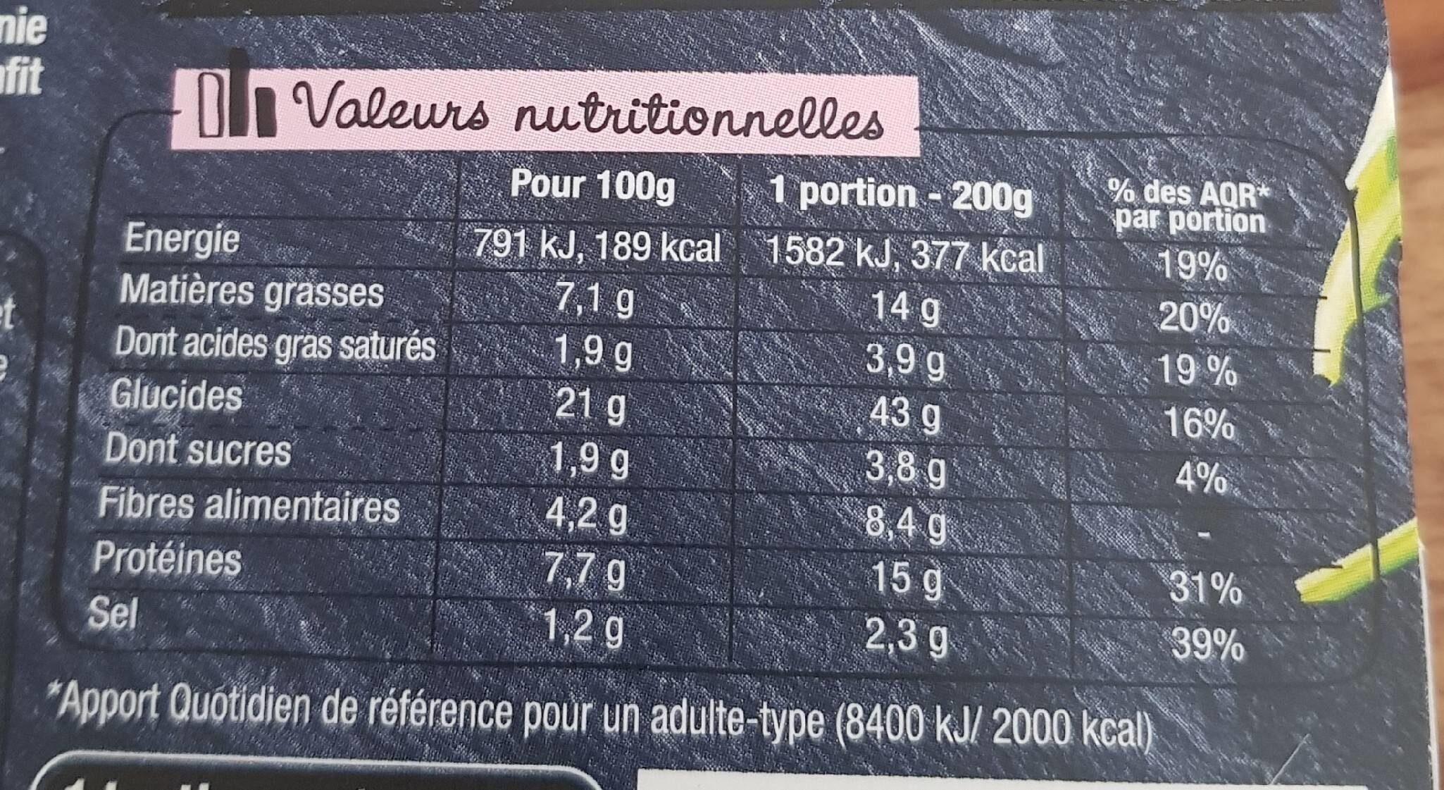 La tartine - Nutrition facts