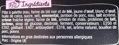 Galette au Blé Noir Jambon Emmental - Ingrédients - fr