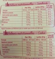 3 jambon supérieur cheddar + 1 cookie - Nutrition facts