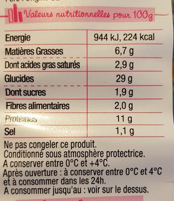 Pastacook - jambon supérieur, courgettes grillées et tomates marinées - Informations nutritionnelles
