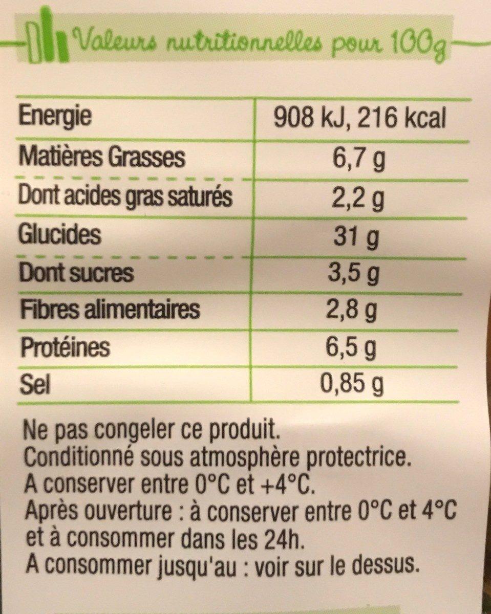 Pastacook tomates marinés poivrons grillés asperges vertes - Informations nutritionnelles