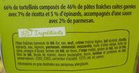 PastaBox - Tortellini Ricotta Epinards Sauce au parmesan - Ingrédients - fr