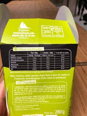 PastaBox - Tortellini Ricotta Epinards Sauce au parmesan - Informations nutritionnelles - fr