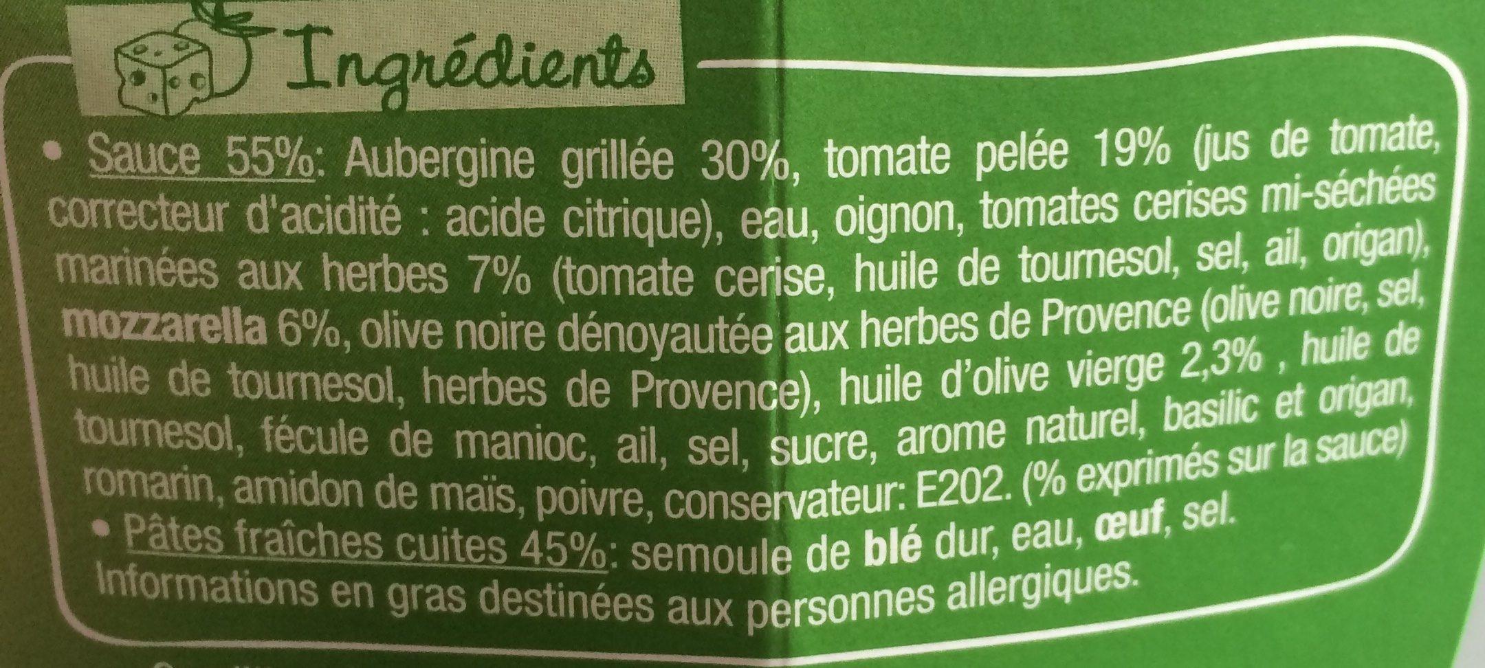 PastaBox - Fusilli aux Aubergines et Tomates cuisinées - Ingrédients - fr