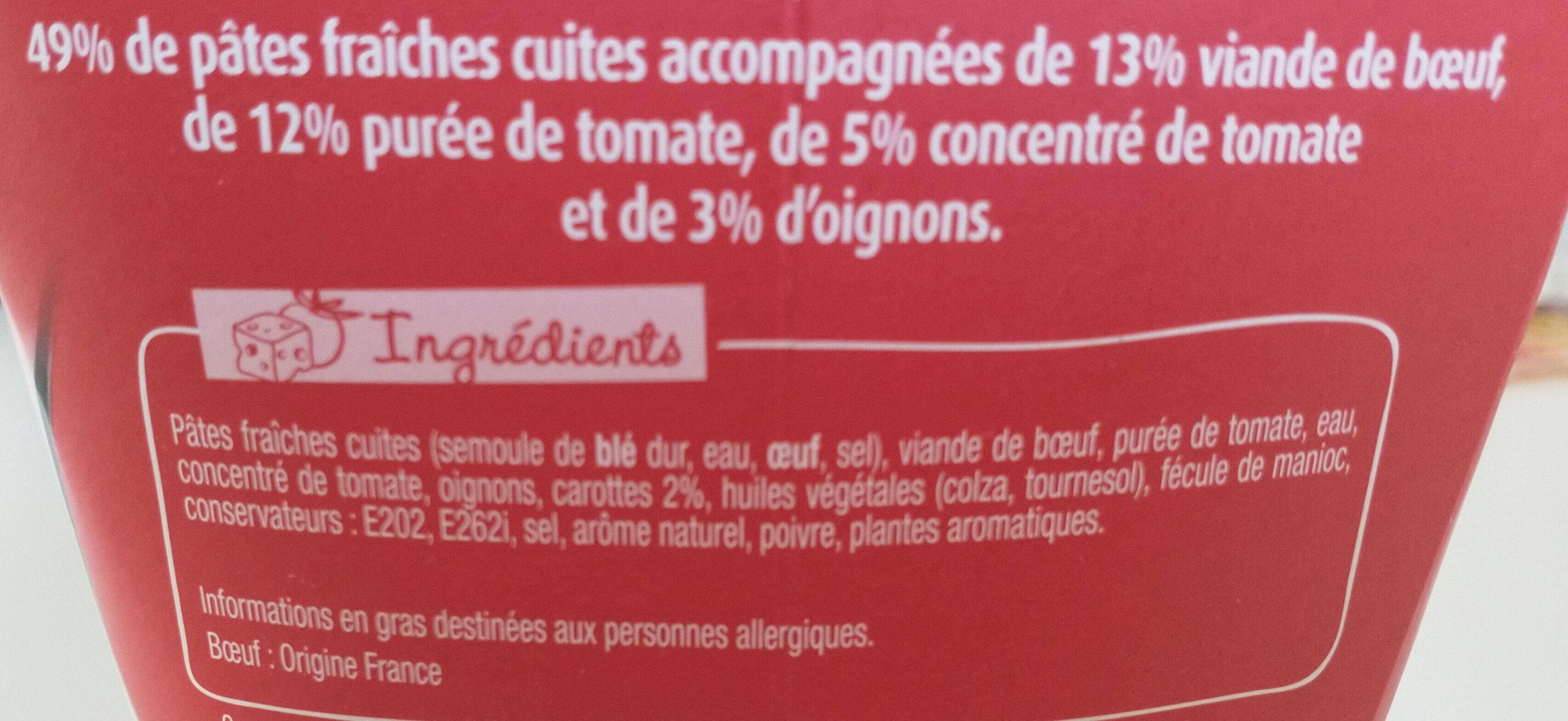 Pasta Box fusilli à la bolognaise - Ingrediënten - fr