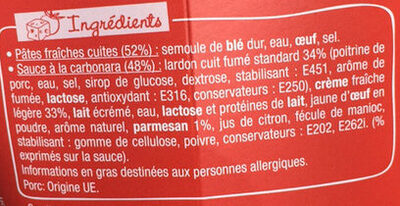 PastaBox - Fusilli à la Carbonara - Ingredients