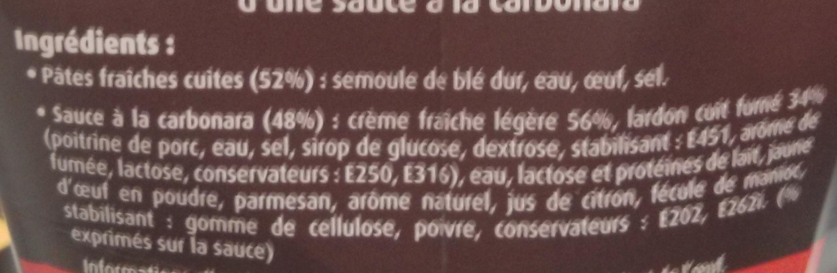 PastaBOX (Fusilli à la Carbonara aux pâtes fraîches) + 33 % Gratuit - Ingrédients - fr
