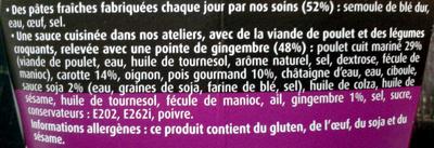 PastaBOX (Nouilles chinoises au Poulet et Légumes croquants aux pâtes fraîches) - Ingredients - fr