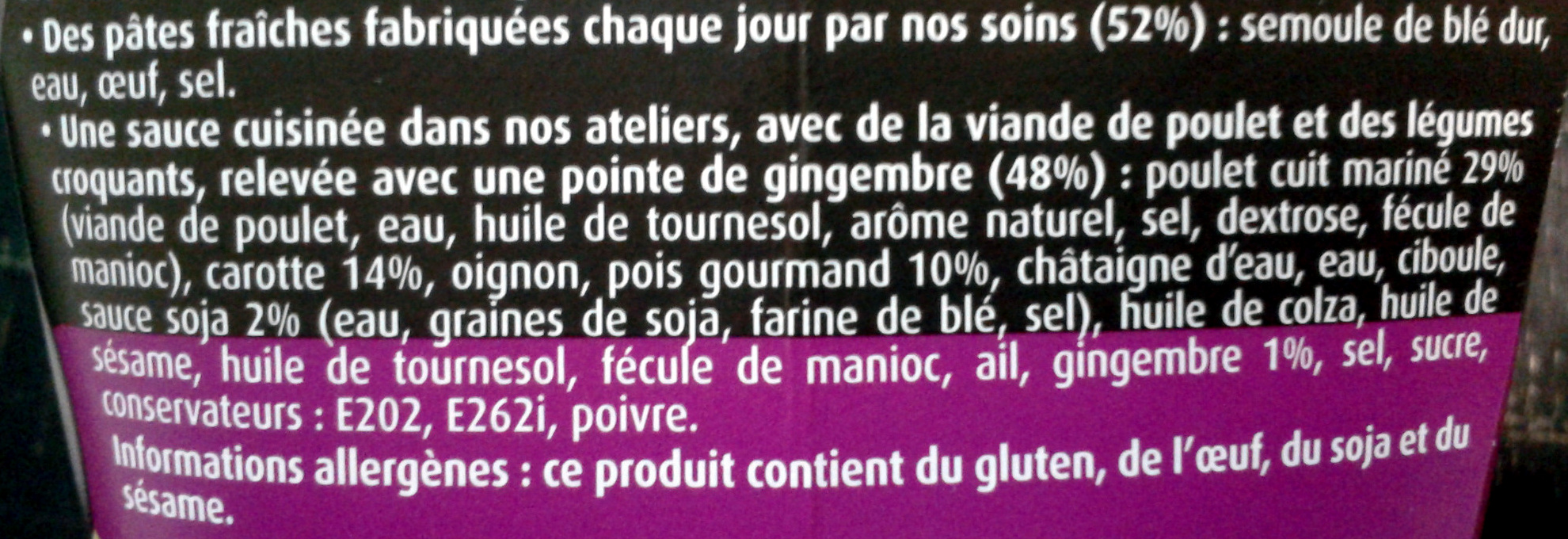 PastaBOX (Nouilles chinoises au Poulet et Légumes croquants aux pâtes fraîches) - Ingrediënten - fr