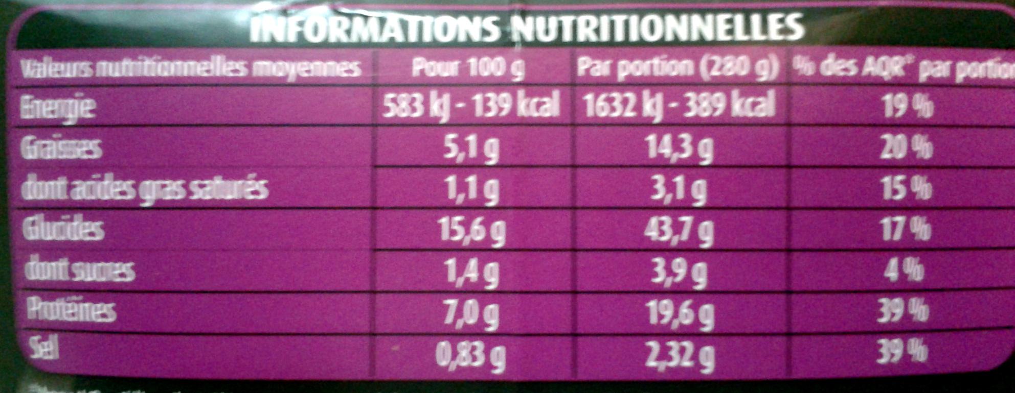 PastaBOX (Nouilles chinoises au Poulet et Légumes croquants aux pâtes fraîches) - Nutrition facts - fr
