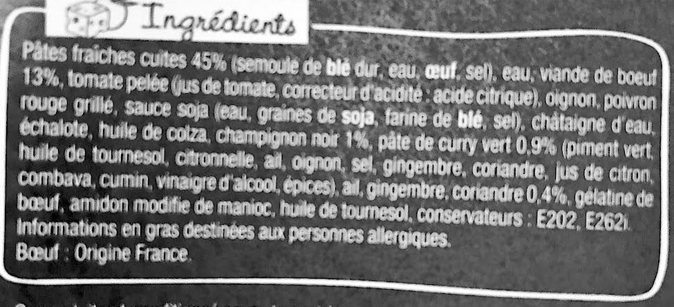Asian Box Boeuf Champignons noirs - Ingredients - fr
