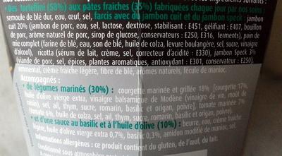 PastaBOX Collezione (Tortellini Jambon Légumes Marinés, aux pâtes fraîches) - Ingredients - fr