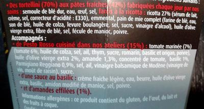 Tortellini Pesto Rosso PastaBox Collezione - Ingrediënten - fr