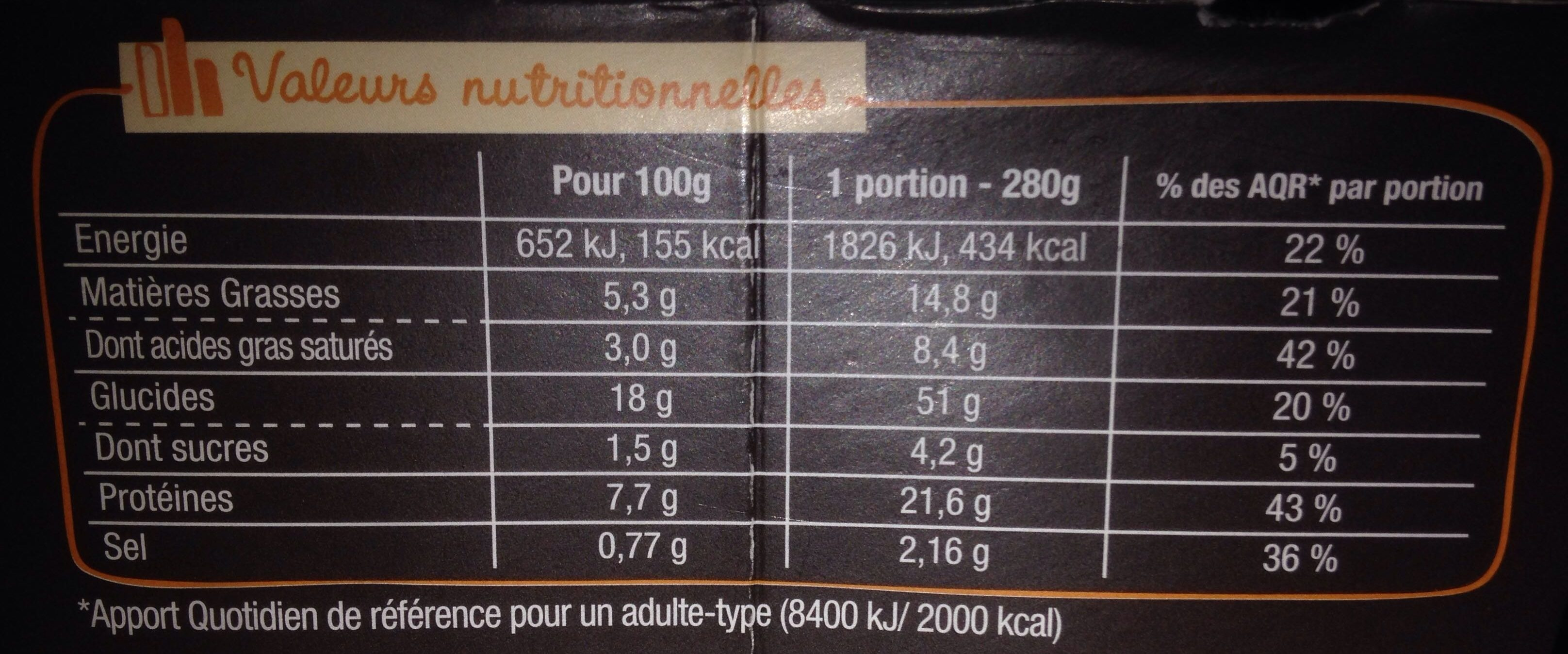 CremioBox - Poulet à la crème - Nutrition facts